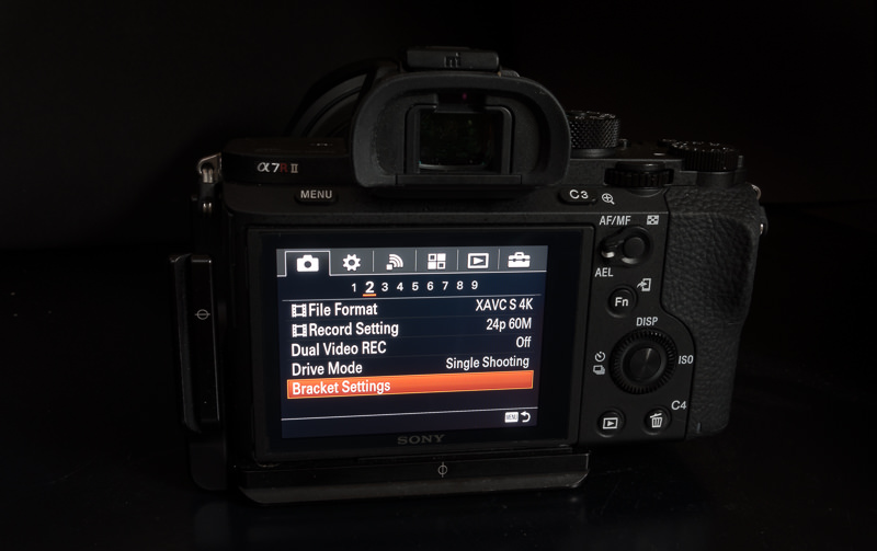 Bracketing Settings Sony a7rII