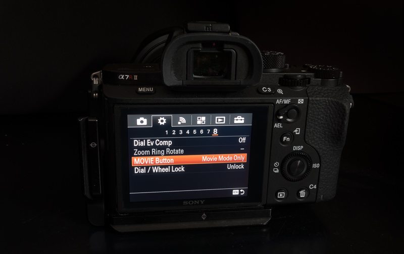 Movie Button Sony a7rII