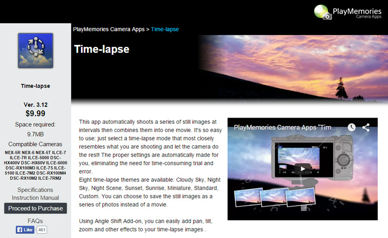 Sony's Time-lapse app found in the PlayMemories Camera App Website