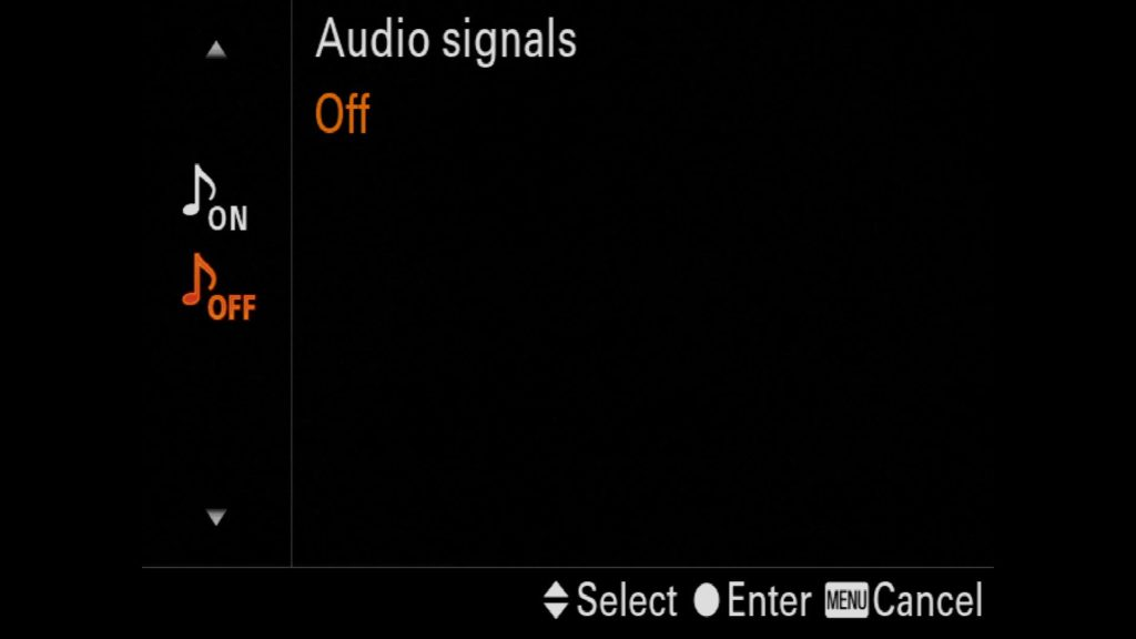 Turning off Audio Signals Sony a7R IV