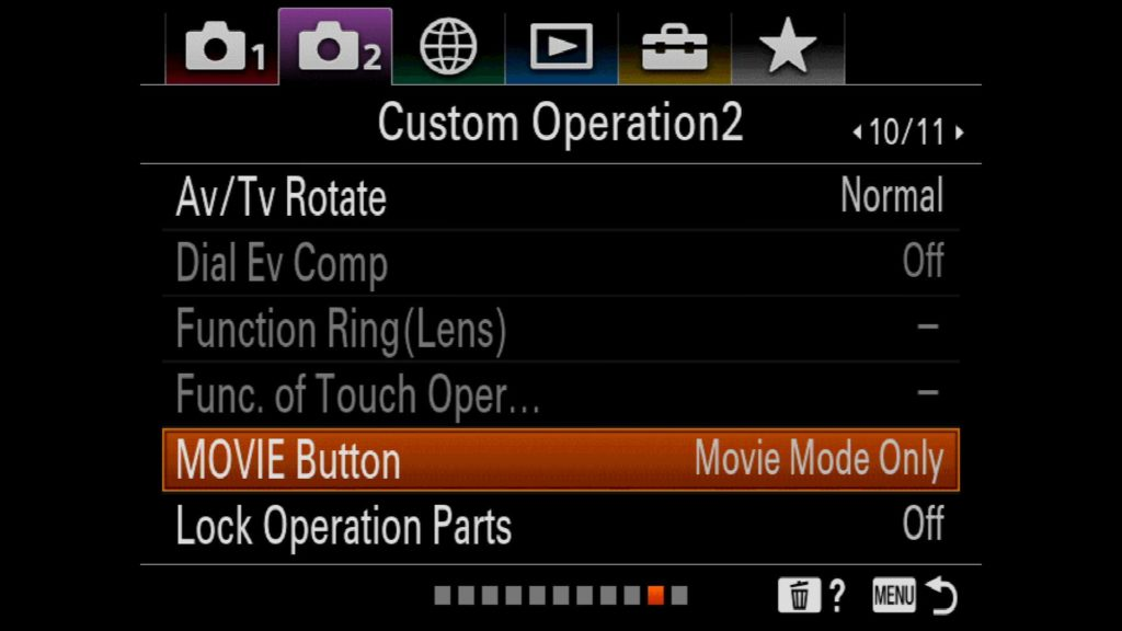 Sony a7R IV Movie Button Settings