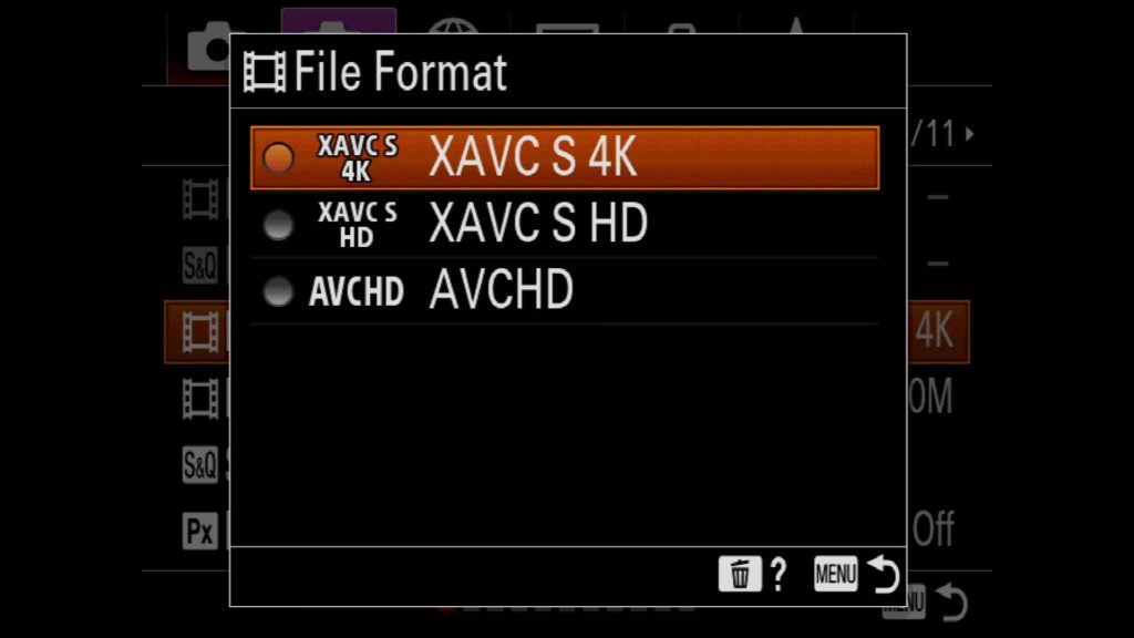 Adjusting File Format for Video Mode Sony a7R IV