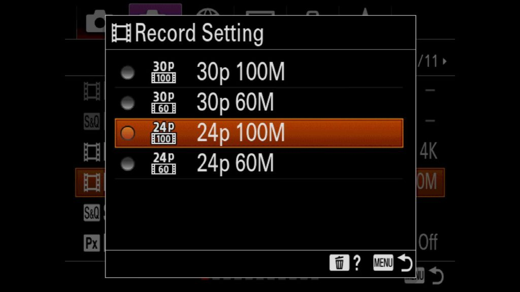 Record Settings Movie Mode Sony a7R IV